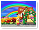 フラワーアーチと虹バラ園